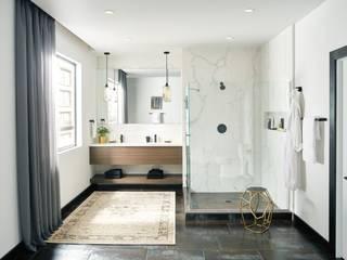 Dale un toque ecléctico a tu baño al incorporar acabados en negro mate:  de estilo  por VAP ARQUITECTOS