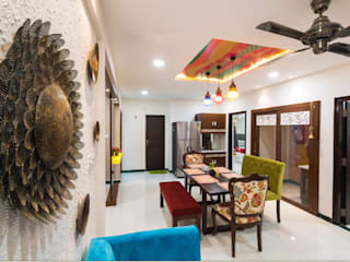 3bhk lat interiors in fusion style with modern aesthetics by Rhythm And Emphasis Design Studio