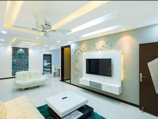 3BHK Flat interiors in contemporary style Modern living room by Rhythm And Emphasis Design Studio Modern
