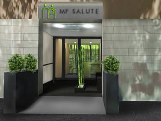 Render dell'ingresso con verde e bambù, visto dall'esterno: Ingresso & Corridoio in stile  di VITAE DESIGN STUDIO