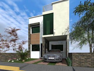 Fachada Principal lateral derecho : Casas de estilo  por HC Arquitecto