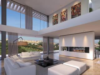 CASA MS1 - Moradia no Belas Clube de Campo - Projeto de Arquitetura - sala: Salas de estar  por Traçado Regulador. Lda,Moderno Pedra