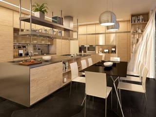 CASA MS1 - Moradia no Belas Clube de Campo - Projeto de Arquitetura - cozinha: Cozinhas  por Traçado Regulador. Lda,Moderno Pedra