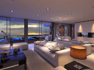 CASA JA1 - Moradia no Estoril - Projeto de Arquitetura: Salas de estar  por Traçado Regulador. Lda,Moderno