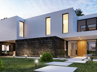 CASA PF1 - Moradia na Herdade da Aroeira - Projeto de Arquitetura: Moradias  por Traçado Regulador. Lda,Moderno