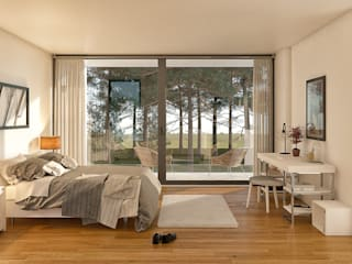 Traçado Regulador. Lda Modern style bedroom Wood White