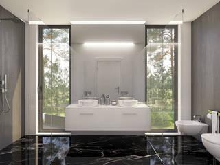CASA PF1 - Moradia na Herdade da Aroeira - Projeto de Arquitetura - casa de banho: Casas de banho  por Traçado Regulador. Lda,Moderno Pedra