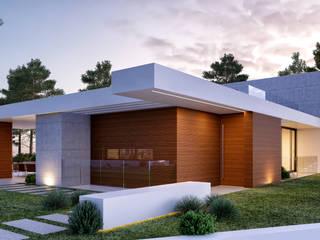 CASA MP1 - Moradia na Herdade da Aroeira - Projeto de Arquitetura - entrada por Traçado Regulador. Lda Moderno Madeira Acabamento em madeira