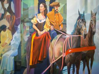 Роспись стены «Форум» для Ticketland: Офисные помещения в . Автор – Allover Graphics,