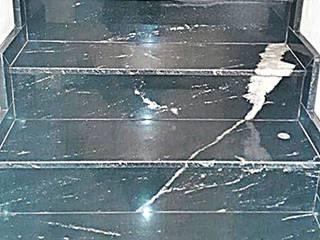 ESCADA - GRANITO PRETO VIA LÁCTEA Arte Pedras Marmoraria Escadas Granito Preto
