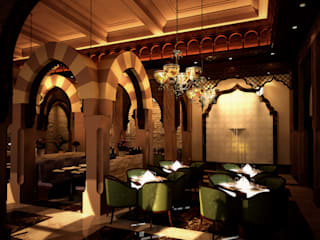 Alzayzafoun Restaurants - Dubai, UAE Mediterranean style dining room by SPACES Architects Planners Engineers Mediterranean
