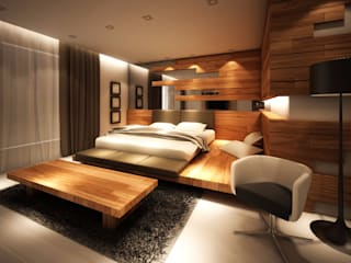Chambre minimaliste par Lighthouse Architect Indonesia Minimaliste