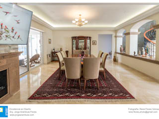 Excelencia en Diseño Colonial style dining room Plywood White