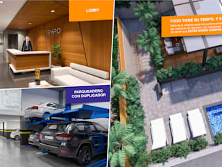 Tempo Urban Apartments: Jardines de estilo moderno por Construcciones y Urbanizaciones SAS