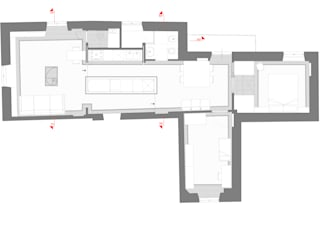 Pianta: Soggiorno in stile in stile Moderno di VITAE DESIGN STUDIO