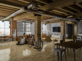 Diseño de Interior: Depas / Lofts.: Salas multimedia de estilo  por Mexikan Curious