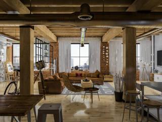Diseño de Interior: Depas / Lofts.: Salas de estilo  por Mexikan Curious