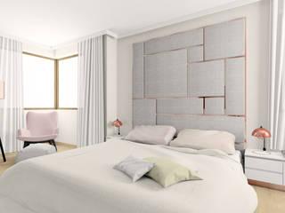 Pudrowy róż w sypialni: styl , w kategorii Sypialnia zaprojektowany przez Esteti Design