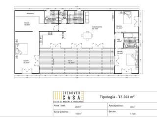 Planta | T3 203m²: Casas pré-fabricadas  por Discovercasa | Casas de Madeira & Modulares