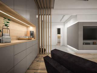 Nowoczesne mieszkanie 70m2: styl , w kategorii Salon zaprojektowany przez Studio Archemia