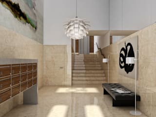 Aguiar 84   Client: Estoril Real Estate Corredores, halls e escadas modernos por Onstudio Lda Moderno