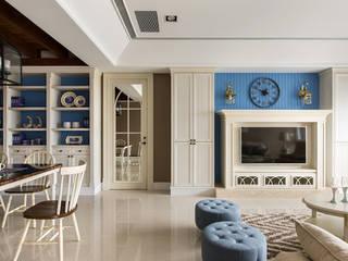 辰林設計 Country style living room Beige