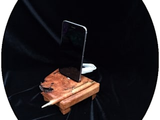 Dockingstation, Ladestation aus Holz für Apple iPhone 5, 5s, 6, 6S, 8 aus Amboina Maser Wurzelholz Holz und Licht WohnzimmerAccessoires und Dekoration Holz Braun