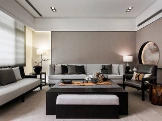 辰林設計 Asian style living room Brown