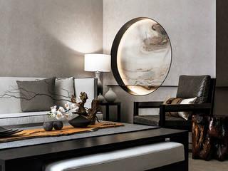 辰林設計 Asian style living room Beige