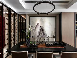 辰林設計 Asian style dining room Brown