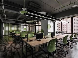 辰林設計 Modern offices & stores Green