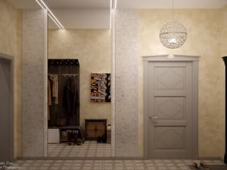Country style corridor, hallway& stairs by Студия интерьерного дизайна happy.design Country