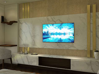5BHK PROJECT @PRATEEK STYLOME BY MAD DESIGN: minimalistic Media room by MAD DESIGN