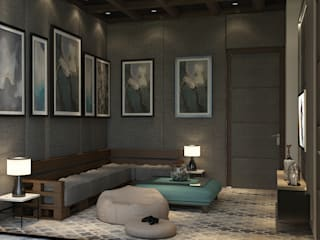 5BHK PROJECT @PRATEEK STYLOME BY MAD DESIGN:  Living room by MAD DESIGN