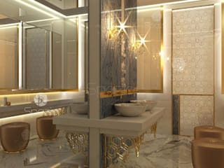 ​Luxury master bathroom design projects in modern style Spazio Interior Decoration LLC Modern bathroom Marble Beige