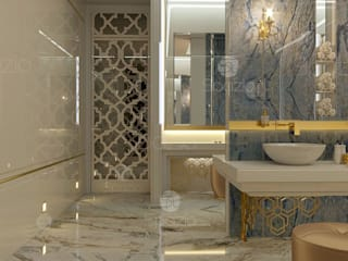 ​Luxury master bathroom design project in modern home in Dubai Spazio Interior Decoration LLC Modern bathroom Marble Amber/Gold