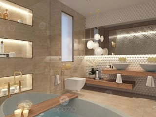 Modern master bathroom interior design in Dubai villa Spazio Interior Decoration LLC Modern bathroom Marble Beige