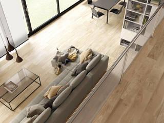 Ambiente acolhedor em madeira ceramica Salas de estar modernas por Lizmundo Salas de Banho e Cozinha Moderno