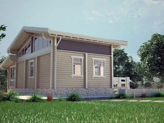 Фасад дома из клееного бруса:  в . Автор – ООО 'Студия Клееного Бруса'