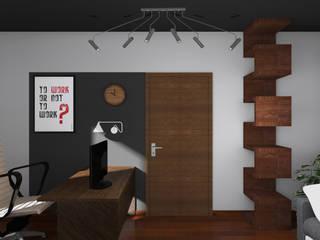Remont salonu, jadalni i biura Nowoczesne domowe biuro i gabinet od BOOM studio Nowoczesny