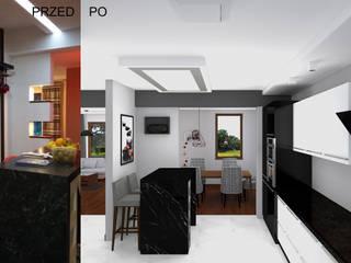 Remont salonu, jadalni i biura Nowoczesna kuchnia od BOOM studio Nowoczesny