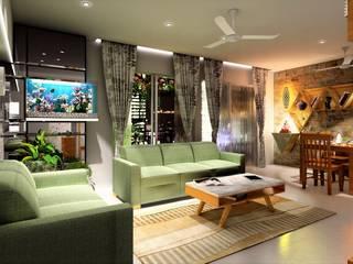 3BHK, Puranik's Abidante, Bavdhan Mediterranean style living room by Design Evolution Lab Mediterranean