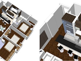 Proy. Remodelacion de Apartamento 100m2: Pisos de estilo  por Arquigrafic, c.a.