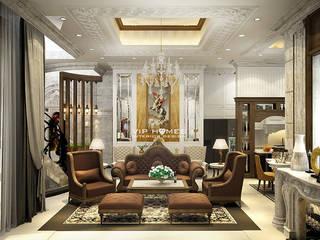 Thiết kế nội thất phòng khách theo phong cách cổ điển Châu Âu:   by Công ty TNHH Kien Xay Nha