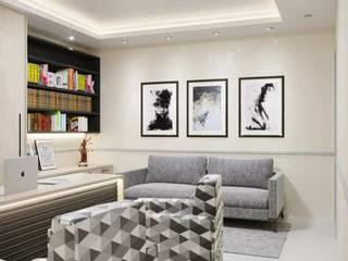 Projeto 3D escritório Claudia Fonseca Designer de Interiores Espaços comerciais modernos