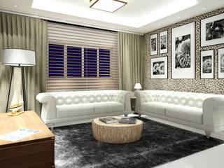 Projeto 3D residencial Claudia Fonseca Designer de Interiores Sala de estarAcessórios e Decoração