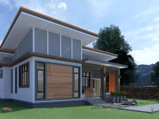 บ้านพักอาศัยชั้นเดียว:  บ้านสำหรับครอบครัว by แบบบ้านออกแบบบ้านเชียงใหม่