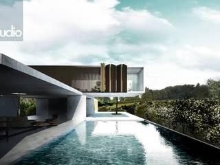 CASA HERRADURA: Casas de campo de estilo  por Fstudio Arquitectura