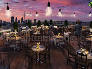 Rooftop Layout Lounge 3D Rendering Evening View:   by Architectural Design Studio