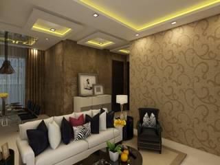 غرفة المعيشة تنفيذ Regalias India Interiors & Infrastructure